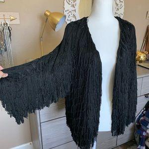 Anthropologie fringe jacket cardigan small